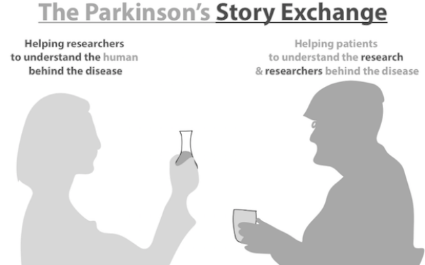 Graphic showing a scientist and a patient in profile