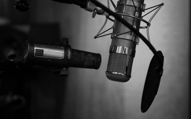 Black and white photo of a pair of microphones in shadow