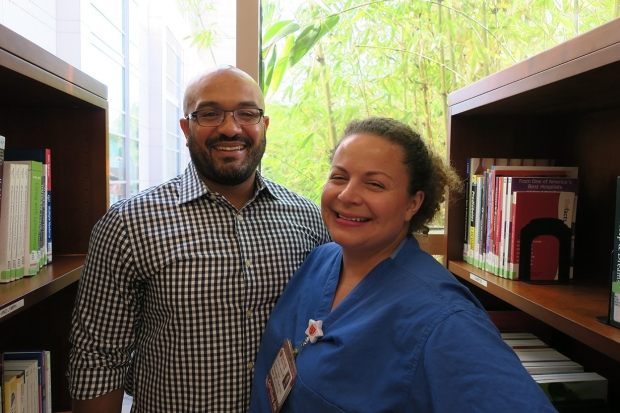 Eugene and Dominque Watt in Stanford Health Library